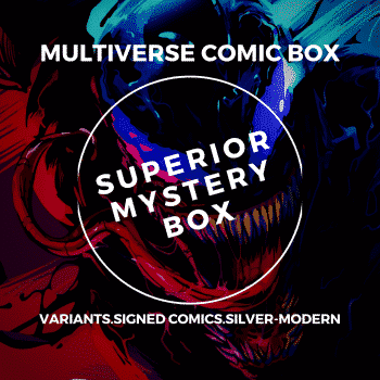 superior comic book mystery box spiderman booth